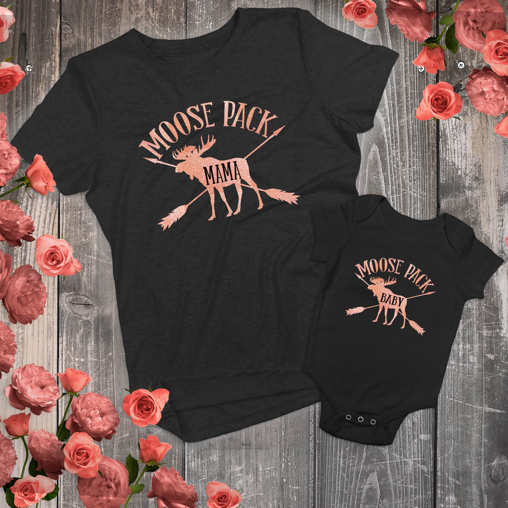 Mommy and Me - Mama Moose and Baby Moose Matching Outfits - Gypsy Junk Clothing Trunk