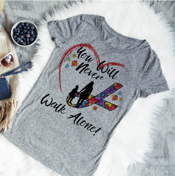 Never Walk Alone - Autism Awareness Shirt - The Inclusion Project - World Movement Tee - Rebels and Roses Boutique