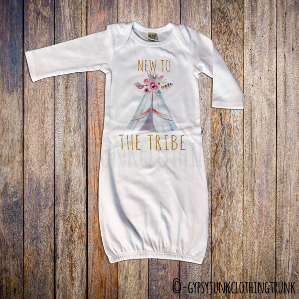New To The Tribe Boho Baby Newborn Gown - Gypsy Junk Clothing Trunk