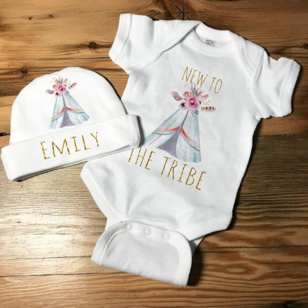 New To The Tribe Set - New Baby Outfit - Boho Baby Shirt and Hat Set - Rebels and Roses Boutique