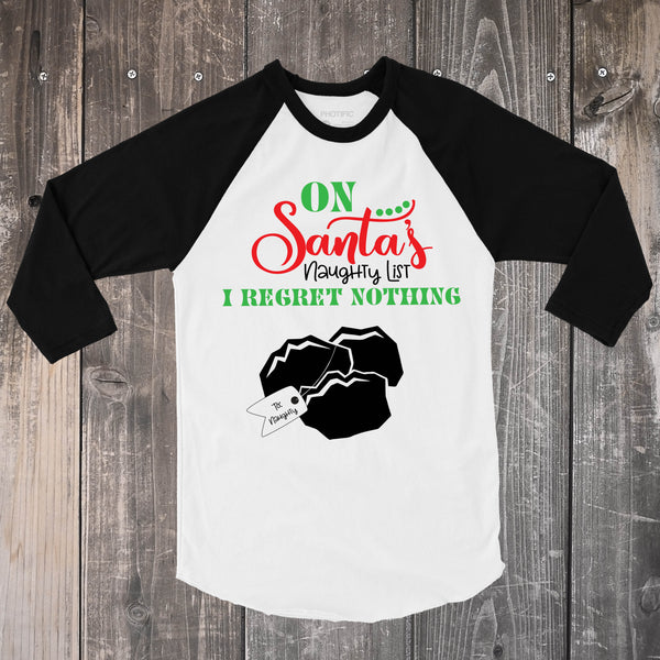 On Santa's Naughty List - Black and White Shirt