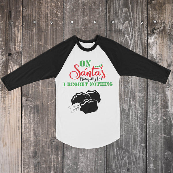 On Santa's Naughty List - Black and White Raglan Christmas Top for Kids - Rebels and Roses Boutique