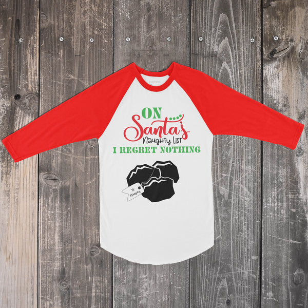 On Santa's Naughty List - Red and White Raglan Christmas Top for Kids - Rebels and Roses Boutique