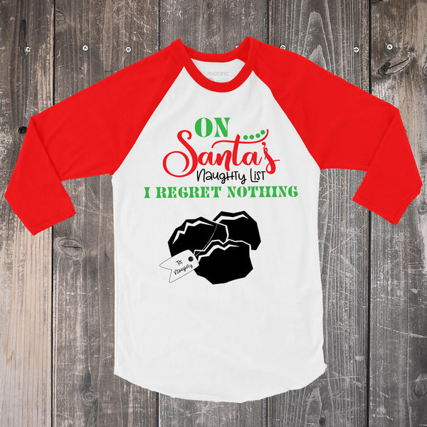 Santa's Naughty List - Red and White Raglan