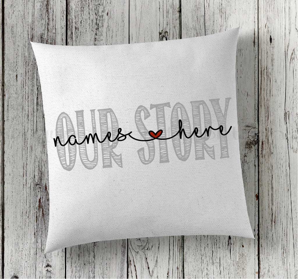 Our Story Announcement Pillow