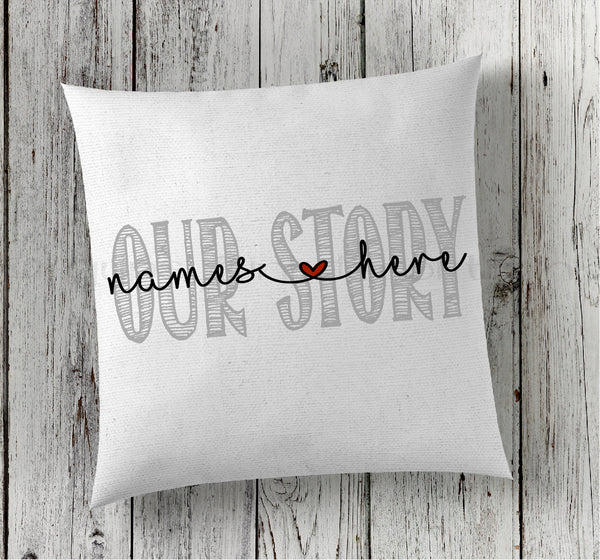 Couples Pillow, Engagement Pillow, Wedding Gift, Announcement Pillow - Rebels and Roses Boutique