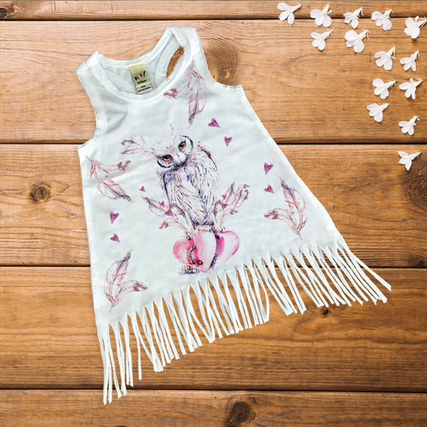 Boho Owl Baby Dress - Fringe Bottom Dress - Rebels and Roses Boutique