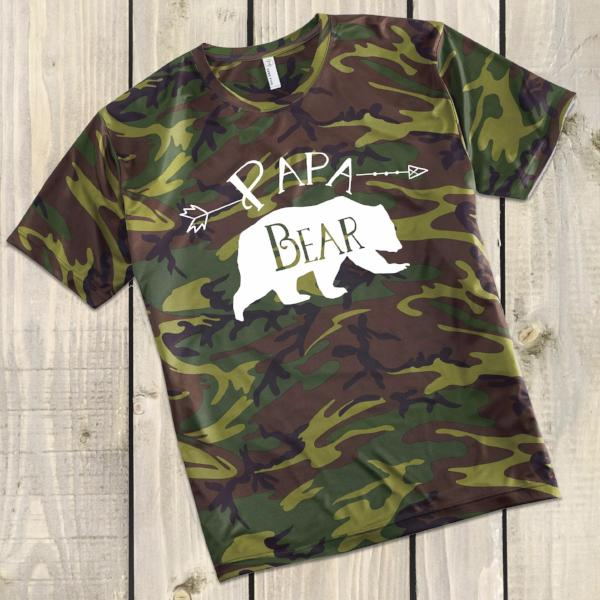 Papa Bear Camo Tee - Bear Family Shirts for Men - Rebels and Roses Boutique