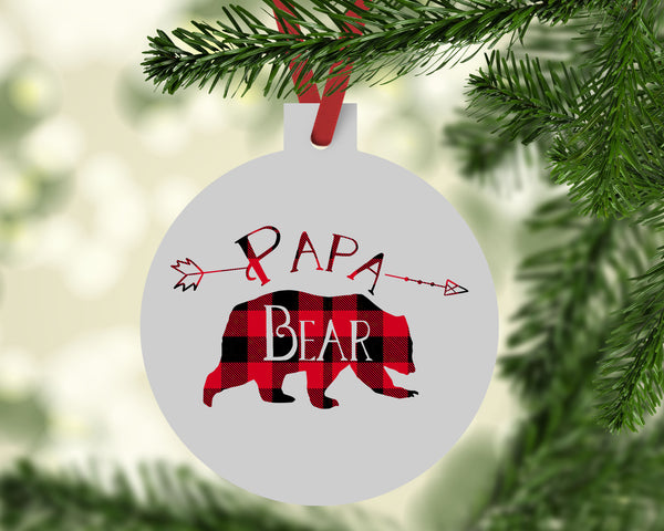 Papa Bear Buffalo Plaid Christmas Ornament - Rebels and Roses Boutique