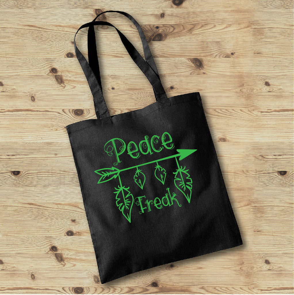 Peace Freak Tote Bag, Hippie Tote Bag, Boho Tote Bag - Rebels and Roses Boutique