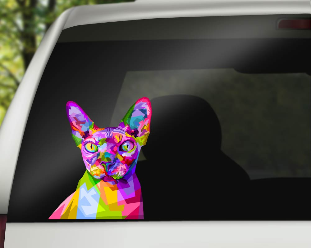 Sphynx Cat Sticker - Pop Art Cat Car Decals/Laptop Decals - Rebels and Roses Boutique