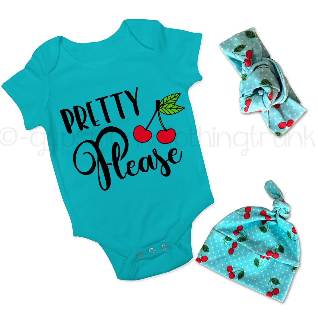 Pretty Please Cherry Outfit Set - Foodie Baby Top w Headband or Hat - Rebels and Roses Boutique