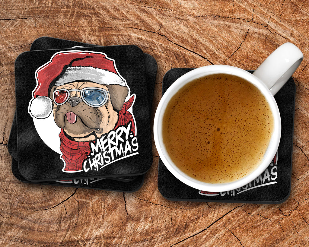 Pug Christmas Coasters - I Can't Santa Is Watching Drink Coasters - Set of 4 - Rebels and Roses Boutique