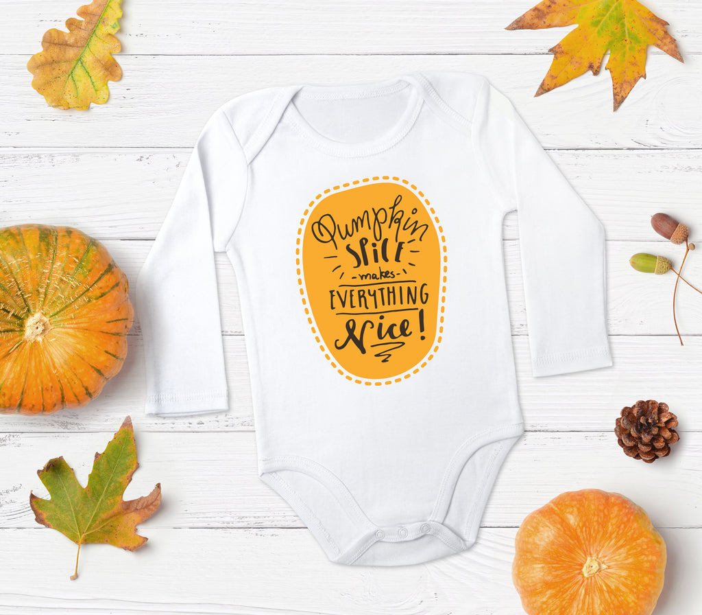 Pumpkin Spice Makes Everything Nice Orange and White Baby Top - Fall Baby Clothes - Rebels and Roses Boutique