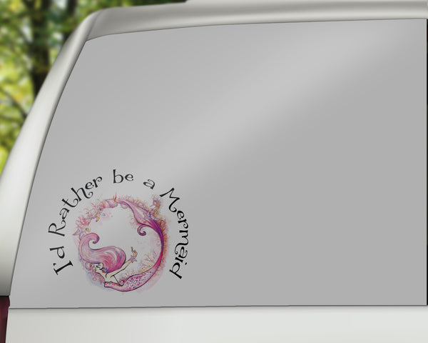 Rather Be A Mermaid - Mermaid Car Decals/Laptop Decals - Rebels and Roses Boutique