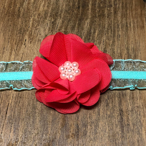 Red and Blue Floral Baby Headband - Rebels and Roses Boutique