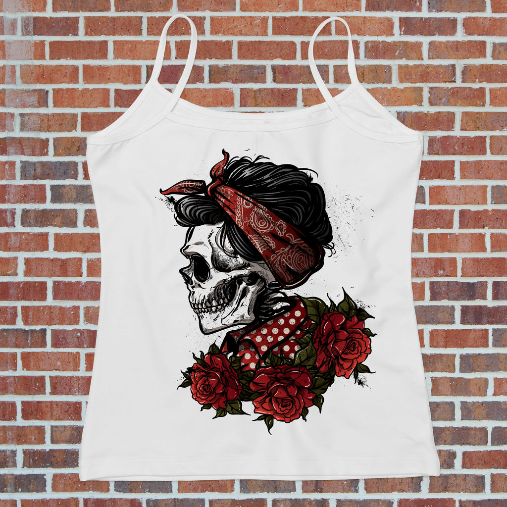 Rockabilly Sugar Skull Tank Top - Women's Biker Tank - Rebels and Roses Boutique