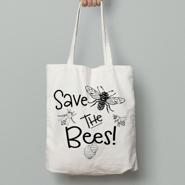 Save the Bees Tote Bag - Honey Bee Tote Bag - Rebels and Roses Boutique