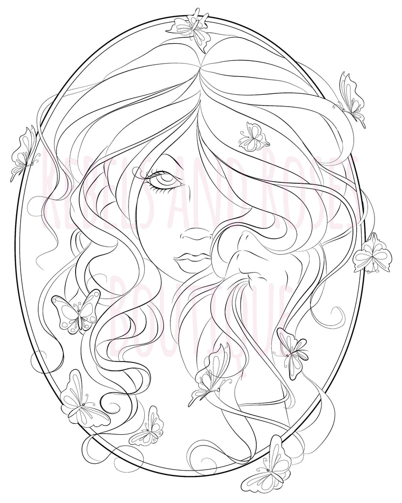 Fairy Coloring Page - Digital Download - Rebels and Roses Boutique