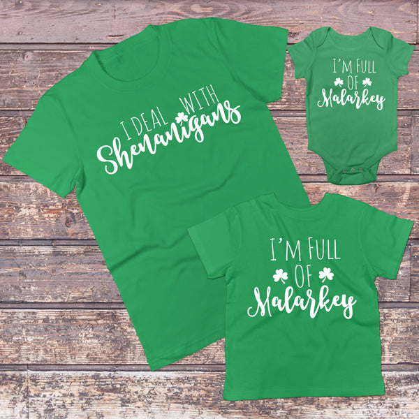 St Patricks Day Family Matching Outfits - Irish Mommy and Me/Daddy and Me Sets - Gypsy Junk Clothing Trunk