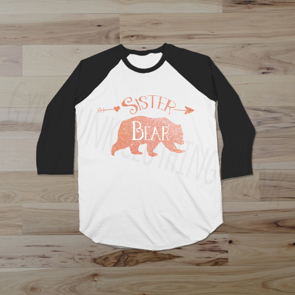 Sister Bear Raglan Glitter Edition - Sibling Shirts for Women - Rebels and Roses Boutique