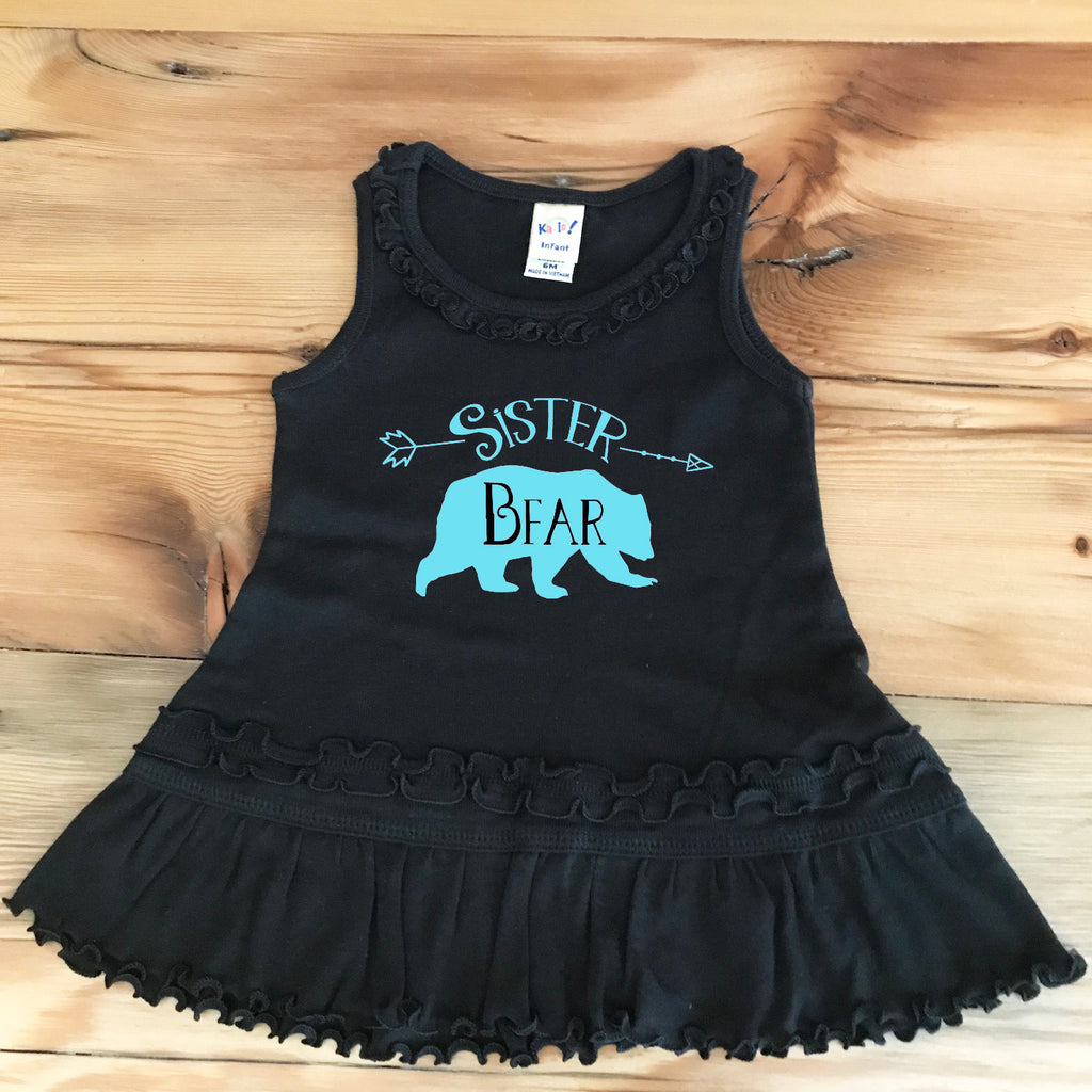 Sister Bear Ruffled Baby Dress - Rebels and Roses Boutique