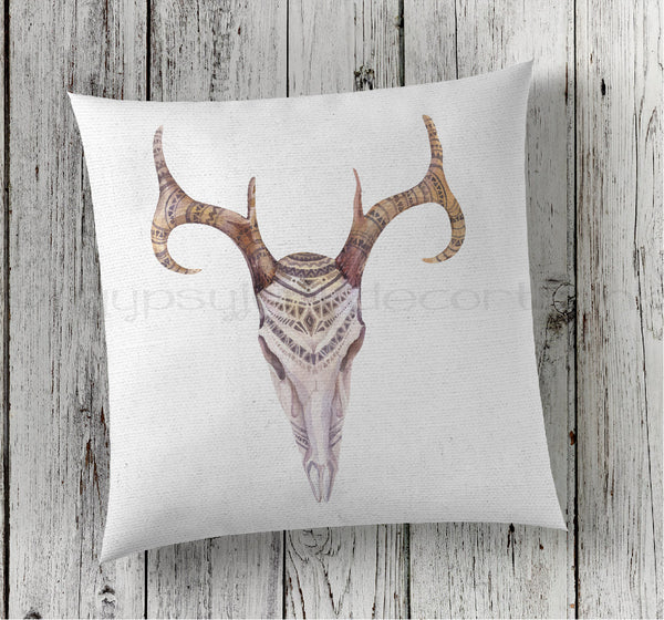 Cow Skull Pillow, Skull Pillow, Boho Skull, Boho Skull Pillow, Boho Pillows - Rebels and Roses Boutique