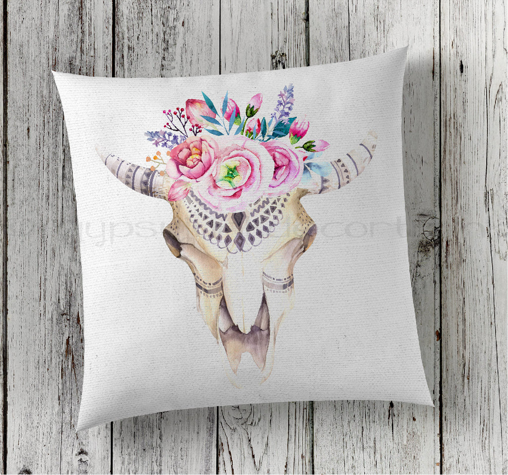 Floral Cow Skull Pillow