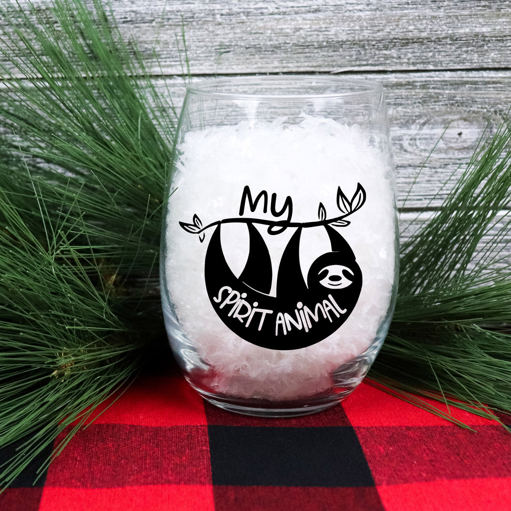 Sloth Spirit Animal Wine Glass - Stemless Wine Glass - Rebels and Roses Boutique