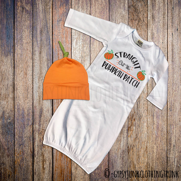First Halloween - Pumpkin Patch Gown - Halloween Baby Clothes - Rebels and Roses Boutique