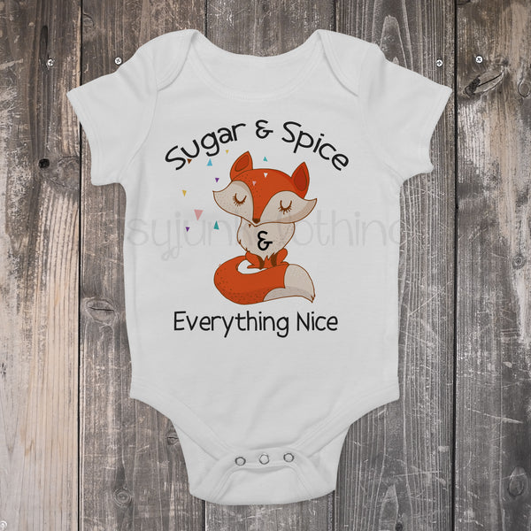 Sugar and Spice Fox Baby Outfit - Boho Fox Baby Outfit - Cute Fox Baby Top - Rebels and Roses Boutique
