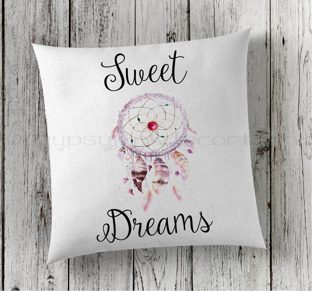 Sweet Dreams Pillow, Dreamcatcher Pillow, Boho Pillows
