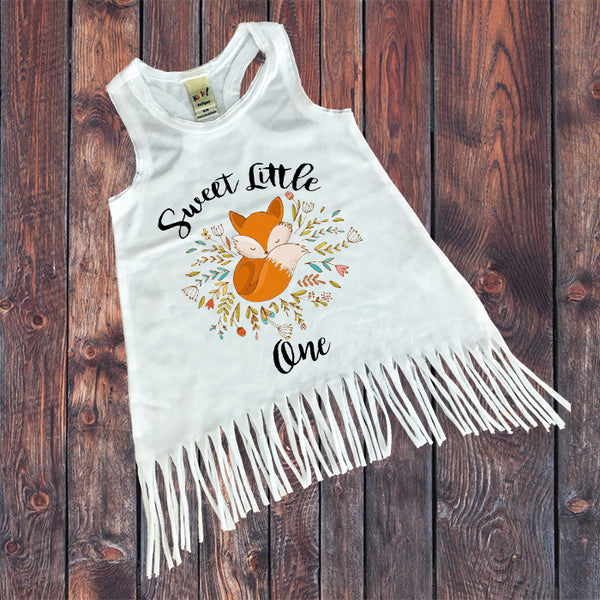 Boho Fox Baby Dress - Fringe Bottom Dress - Rebels and Roses Boutique