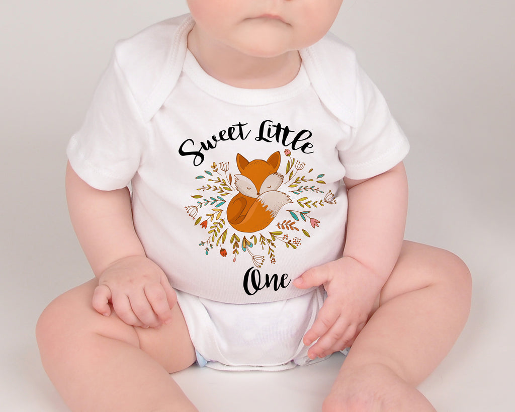 Sweet Little One Fox Baby Outfit - Boho Fox Baby Bodysuit- Cute Fox Baby Top - Rebels and Roses Boutique