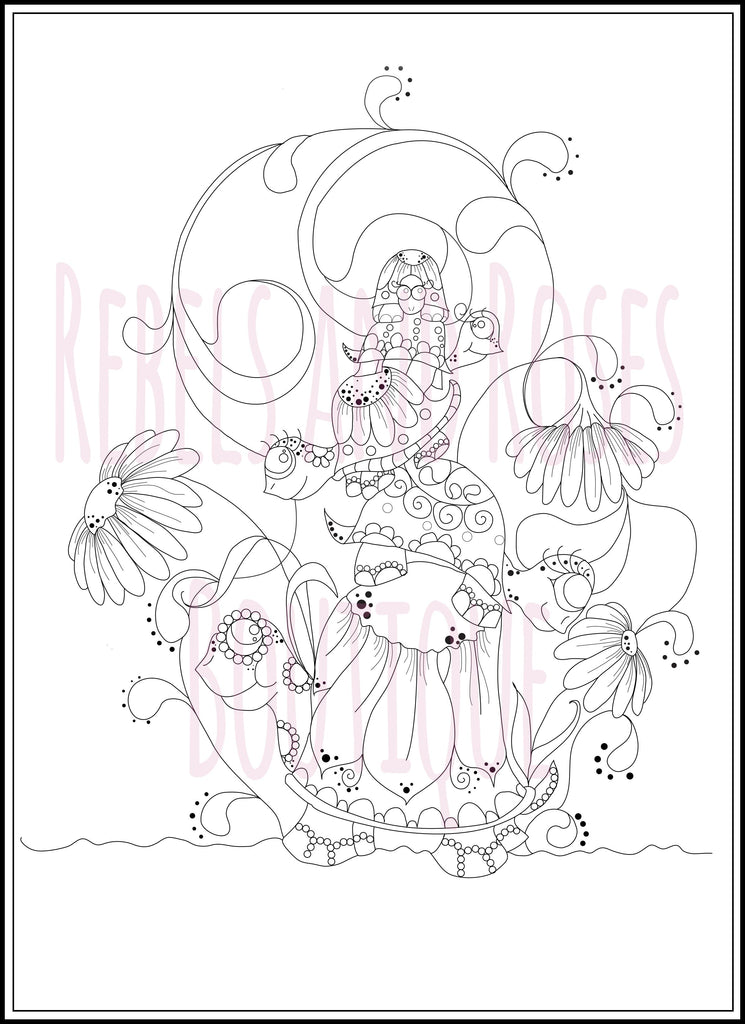 Turtle Coloring Page -Animal Color Page - Digital Download - Rebels and Roses Boutique