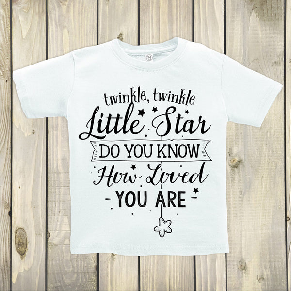 Twinkle Twinkle Little Star Toddler Top - Boho Woodland Kids Top - White Crew Neck - Gypsy Junk Clothing Trunk