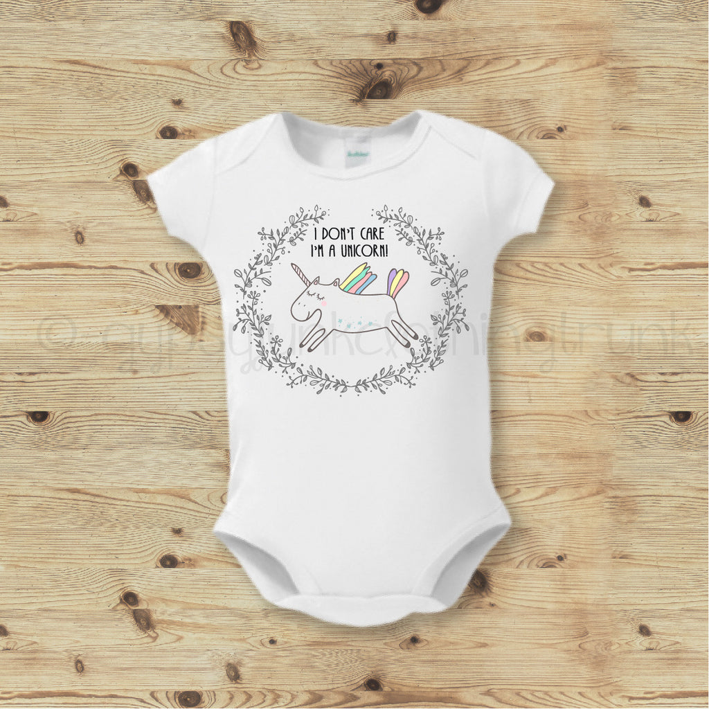 Unicorn Baby Outfit, Unicorn Bodysuit, Baby Girl Outfit, Boho Baby Top - Gypsy Junk Clothing Trunk