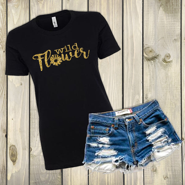 Wild Flower Crew Neck- Black and Gold - Boho Shirt - Gypsy Junk Clothing Trunk