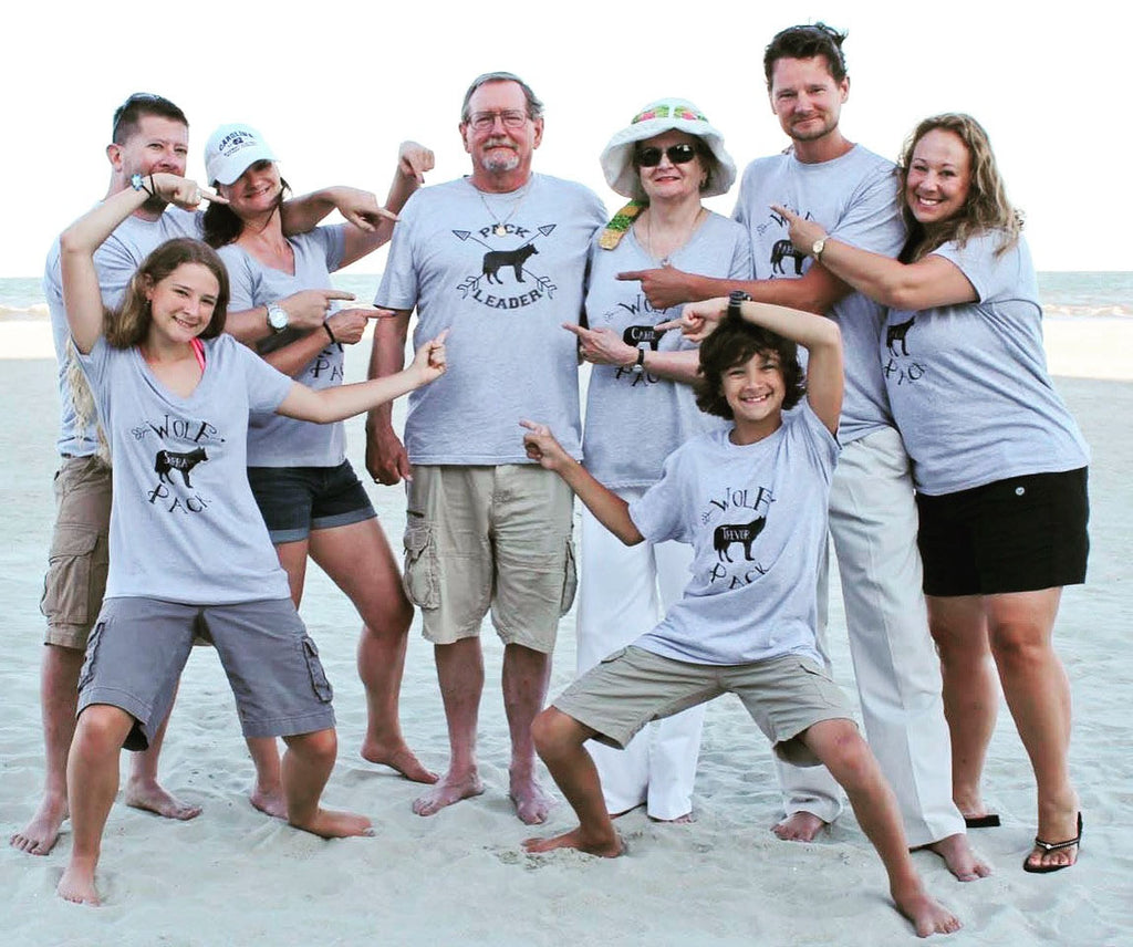 Wolf Pack Family Matching Gray Shirts - Mama Wolf, Papa Wolf, Baby Wolf Shirts - Rebels and Roses Boutique