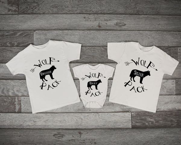 Wolf Shirts, Brother Wolf, Sister Wolf, Baby Wolf, Sibling Shirt Set