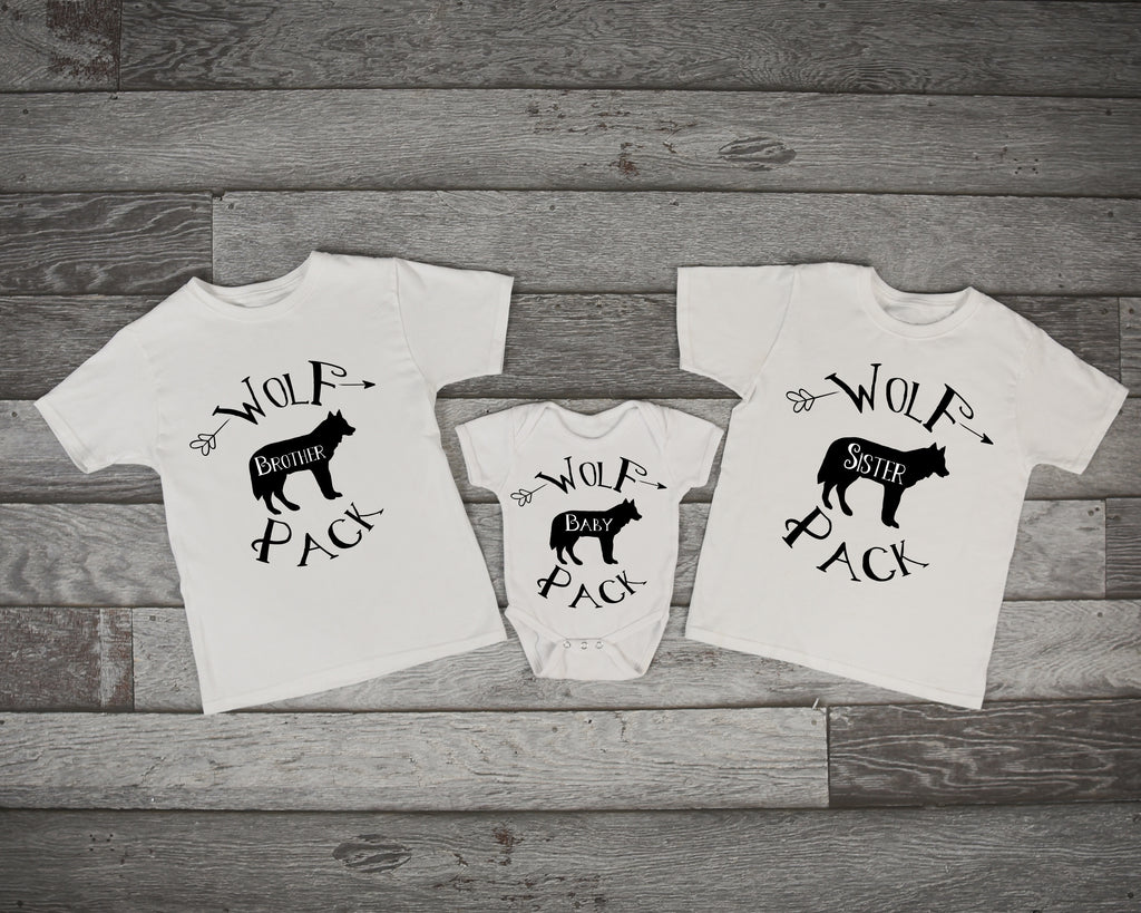 Wolf Pack Twin, Triplet Sibling Shirts - Brother Wolf, Sister Wolf, Baby Wolf - Rebels and Roses Boutique