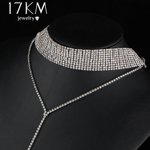 17KM Long Gothic Rhinestone Crystal Choker Necklace for Women Sexy Double-Strand Layered Tattoo Necklaces Boho Jewelry Gift