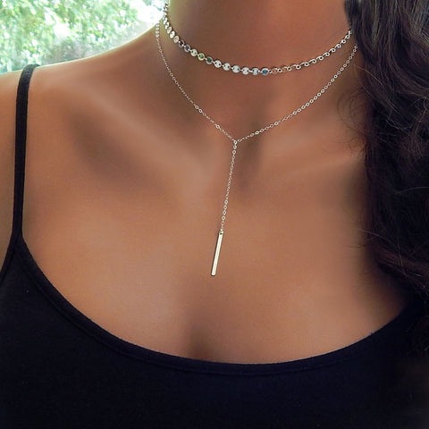2017 Simple Long Bar Choker Necklace For Women Silver Color Coin Chocker Necklaces collar collier ras du cou femme