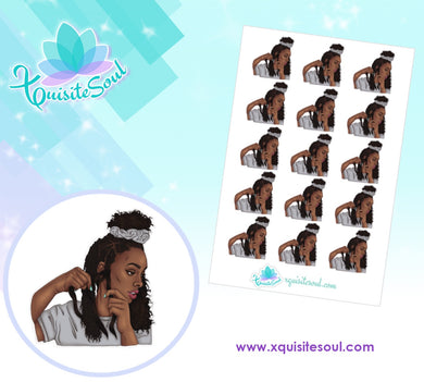 Dark African American Skin Tone Hair Braiding Stickers