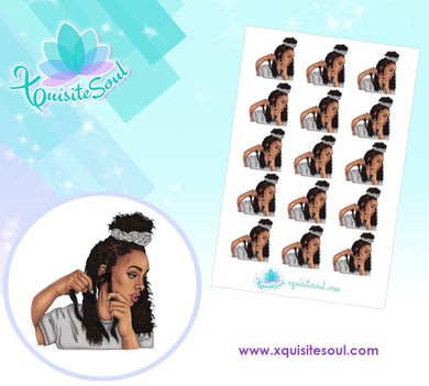Medium African American Hair Braiding Stickers