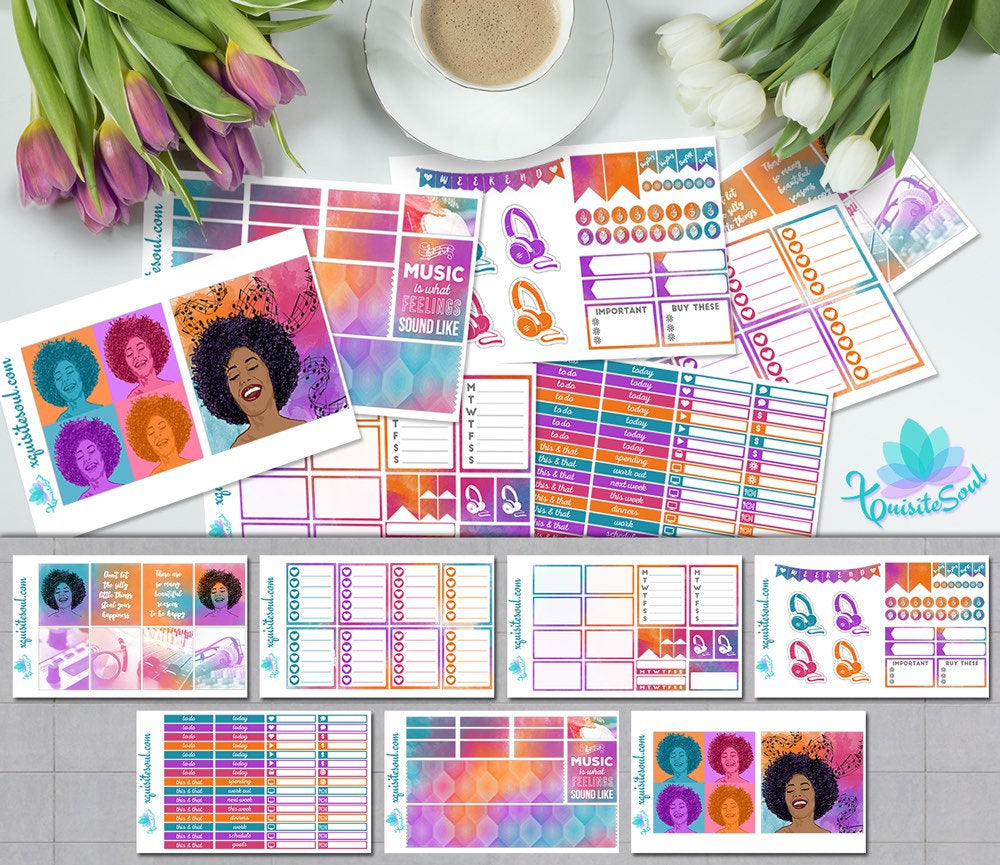 Vibrant Toronto Sound African American Weekly Kit for Erin Condren