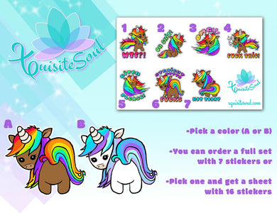 Sassy Unicorn Cuss Word Stickers