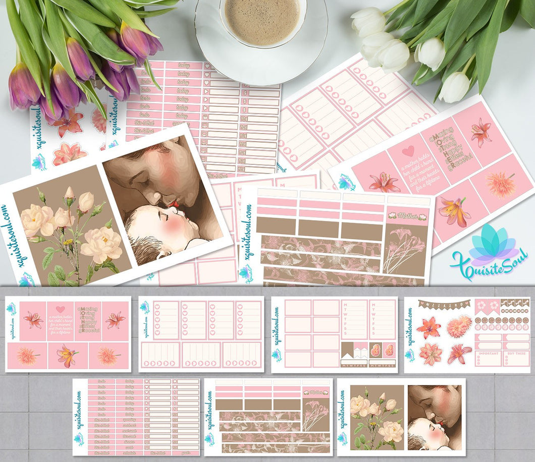 Mothers Light Skin Weekly Planner Stickers Kit for Happy Planner