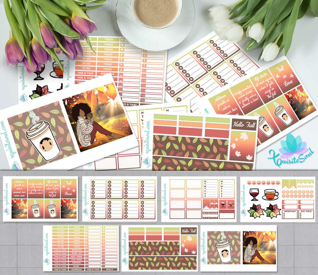 Hello Fall African American Weekly Kit for Erin Condren Planner
