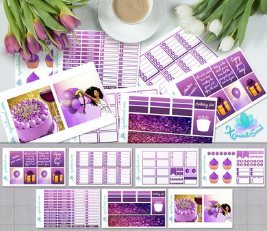 Birthday Girl African American Weekly Kit for Erin Condren Planner